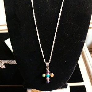 Jewelry - Zuni Sterling Silver & Multi Stone Cross Necklace
